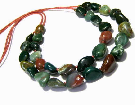 Fancy Jasper Necklace Double Stranded Necklace Multi Strands Popular Jewelry  Statement Jewelry Gift Ideas Blood Stone Necklace Nuggets
