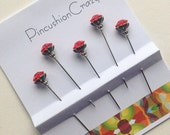 Red Diamante Pins - Harlequin Pins - Fancy Pins - Stick Pins - Embellishment Pins - Scrapbook Pins - Cardmaking Embellishments - Sewing Gift