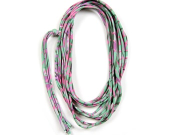 Green Necklace, Pink and Green Scarf, Pink and Green Scarf,  Summer Scarf, Festival Clothes, Long Necklace, Festival Fashion, Festival