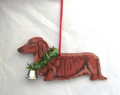 Hand-Painted DACHSHUND LONGHAIR RED Wood Christmas Ornament Artist Original...Nicely Painted