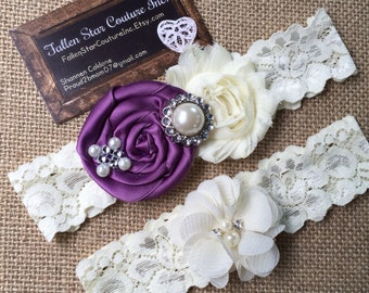 Wedding garter / David's Bridal wisteria  / wedding  garter SET / bridal  garter/  lace garter / vintage lace garter