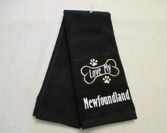 Newfoundland Hand Towel, Pet Towel, Grooming Towel, Embroidered Dog Towel