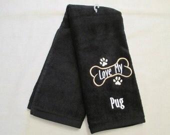 Pug Hand Towel, Pet Towel, Grooming Towel, Embroidered Dog Towel