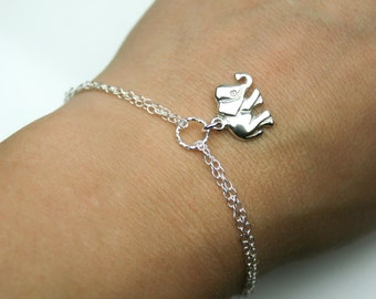 Double Chain Adjustable Elephant Bracelet in Sterling Silver