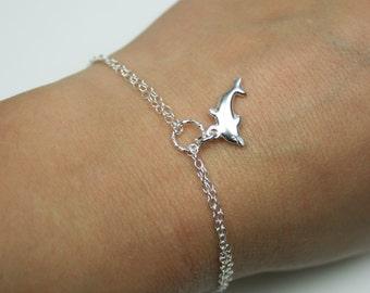 Double Chain Dolphin Bracelet in Sterling Silver - Adjustable Bracelet