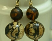 Vintage Tiger Coral Bead Earrings,Vintage 1950s German Amber Black Glass,Brass