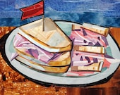 Deli Sandwich, 5x7 inch ORIGINAL COLLAGE ART