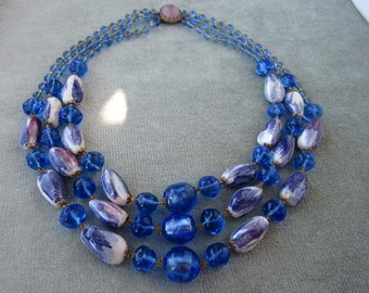 Vintage Art Glass and Ceramic Beads Necklace / 1940s or 1950s