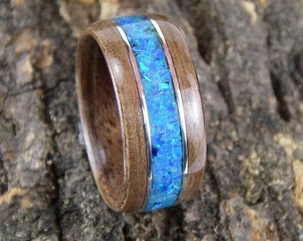 Bentwood Ring Walnut with Blue Opal Inlay and Sterling Silver Accents
