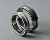 Titanium ring, Ring with Ebony and Ivory inlay