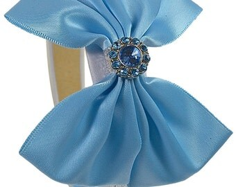 Cinderella Princess Inspired Sparkling Glitter Satin Bow Headband - Halloween Costume Accessory