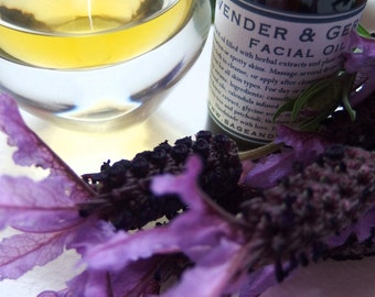 Lavender and Geranium Facial Oil - Great for cleansing and acneic skin- 30ml - 100% Natural