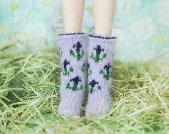 jiajiadoll- Hand Knit- violet flower bowknots socks fits momoko- blythe -Misaki- Unoa light- Lati yellow