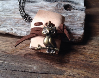 SALE50% OWL MiniatureBook Necklace vintage color