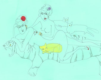 THE CAT LADIES Drawing Print / cat art / fine art / lesbian/ queer / woman / nude ( size/price range a4 & a3 )