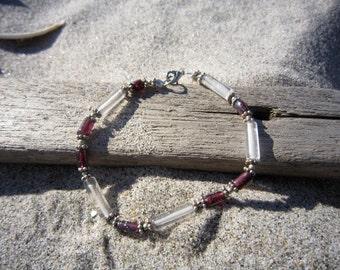 Garnet  and Rock Quartz Bracelet. Great Gifts Under 20 Dollars