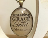 Amazing Grace how sweet the sound religious glass pendant necklace
