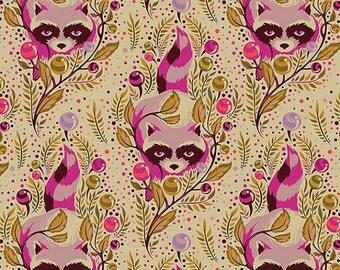 FQ Tula Pink Acacia Raccoons in Canyon