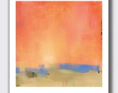 "Contemporary Minimalist Landscape Print, 10""Hx8""W Print, Sunrise, Sunset, Orange, Colorful, Bold, Warm, Wall Decor"