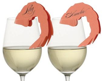 Shrimp Place Cards - ocean, sea, jumbo, cocktail, glass