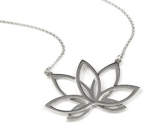 Lotus Necklace in sterling silver or 14k gold plate-yoga necklace by Lala jewelry