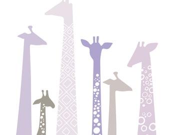 "8X10"" modern giraffe silhouettes giclee print on fine art paper. light lavender purple, gray."