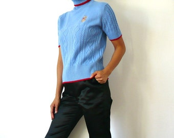 French Vintage Blue Knit Turtle Neck Short Sleeves Sweater