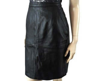 TINA French Vintage 80s Black Leather Pencil Skirt