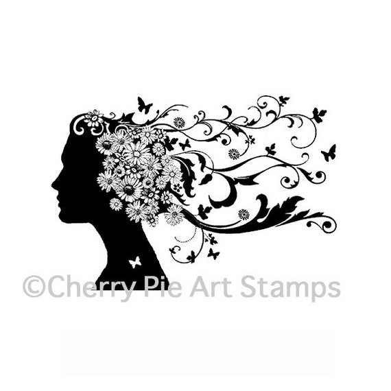 Flourishes woman silhouette - Spring spirit -CLING RuBBer STAMP by Cherry Pie Art Stamps