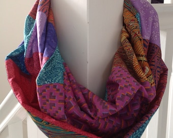 Liberty print patchwork infinity scarf - jewel colours