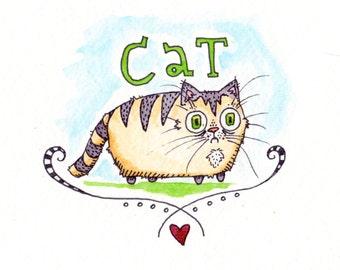 A Fat Cat Watercolor Illustration Print