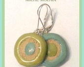 Robin's Egg Blue and Sage Green Earrings Simple Round Colorful Hoop Earrings - REVERSIBLE