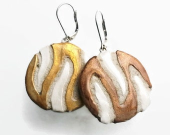 Askew Metallic Striped REVERSIBLE Earrings for Her in Gold,Silver & Brown Bronze Metallic Geometric