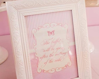 ELEGANT PINK BUTTERFLY Printable party Sign