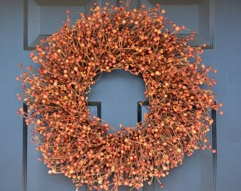 Fall Sunset Wreath, Thanksgiving Wreath Berry Wreath, Thanksgiving Decor XL 18 - 24 Inch Sizes Available