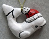 Beluga Whale Santa Christmas Ornament, pull down menu selection, personalized by Nicole