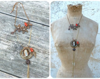 """Apparition long sautoir necklace with  Lourdes handpainted """"fixe sous verre"""" medaillion  golden chains fringes & Antique glass paste"""