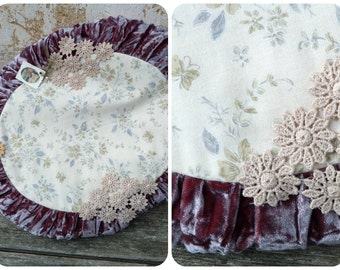 Bohemian Handmade floral cotton & grey velvet pillow adorned with died cotton guipure lace