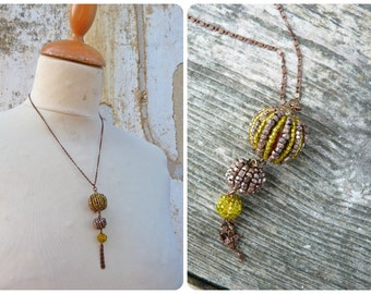 3 pompoms necklace / 3 pompoms tassels beaded necklace /metallic pink & sheer yellow