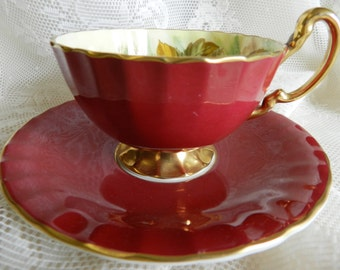 D Jones Aynsley Teacup,  Deep Red Aynsley Teacup, Signed Aynsley, Fruit Teacup, Doris Jones Teacup,    no8A