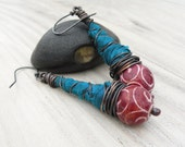 Long Bohemian Earrings, Red and Teal, Silk Wrapped Earrings, Tribal Jewelry, Eclectic Dangles, Sterling Silver Ear Wires