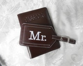Leather Passport Cover and Luggage Tag in Brown