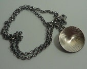 """silver disc pendant 16"""" belcher chain patinated darkened patterned seedhead flower"""