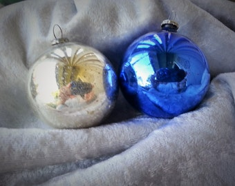 Two1950's Glass Ball Christmas Ornaments  Silver and Blue