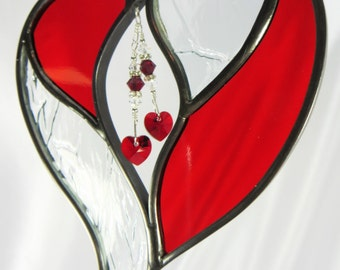 Two Hearts as One Stained Glass Suncatcher - MADE TO ORDER