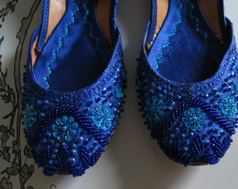 Royal Blue Elegant Beaded Leather Shoes India Absolutely Gorgeous Beading and Coloring