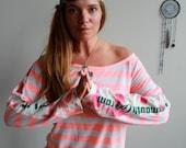 Pink Striped Tie Dye Dyed...