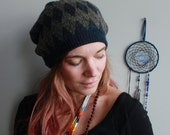 Gray Blue Diamond Print Pattern Recycled Eco Friendly Hippie Sweater Slouchy Tam Hat Beanie By MountainGirlClothing