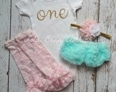 Baby Girl Baby Girl 1st Birthday Outfit Photography Props Gold One Bodysuit Mint Bloomers Pink Gold Cake Smash Outfit