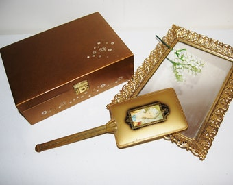 Vintage Gold Vanity Mirror Tray and Jewelry Box 1950's